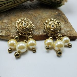 Vintage 80's Earrings Faux Pearl Gold Tone Drop
